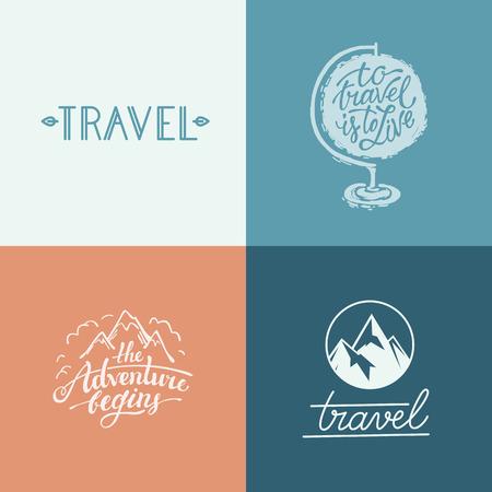 aventura: Vector conjunto de diseños y estampados, letras de la mano relacionados con los viajes y la aventura - de viajar es vivir y la aventura comienza cotizaciones
