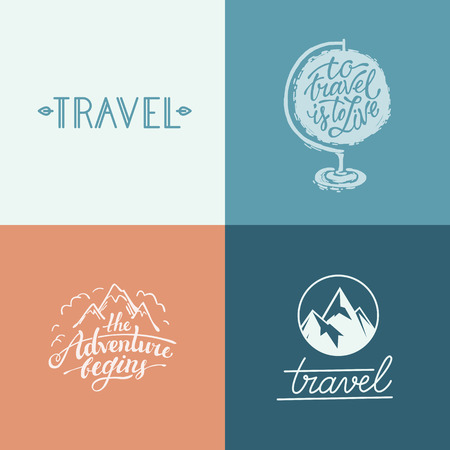 adventure holiday: Vector set of hand-lettering designs and prints related to travel and adventure - to travel is to live and the adventure begins quotes