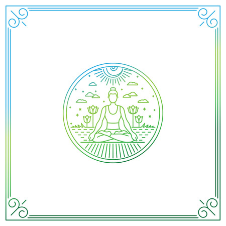 Vector illustration in trendy linear style - woman in lotus pose - logo or print concept for yoga studio or class