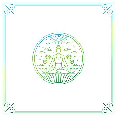Vector illustratie in trendy lineaire stijl - vrouw in lotus houding - logo of afdrukken concept voor yoga studio of klasse