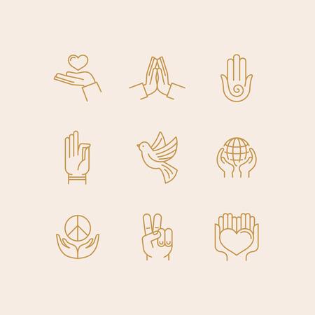 宗教と平和の手や指に関連する流行の線形スタイルのアイコンのベクトルを設定  イラスト・ベクター素材