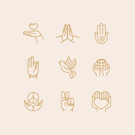 manos aplaudiendo: Vector set of icons in trendy linear style related to religion and peace - hands and fingers