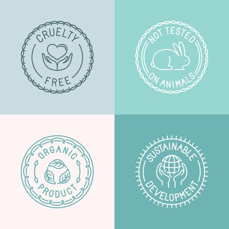Vector conjunto de escudos y emblemas en el estilo lineal de moda para el embalaje de cosméticos orgánicos y naturales - libre de crueldad, no probado en animales, productos orgánicos, desarrollos sostenibles Ilustración de vector