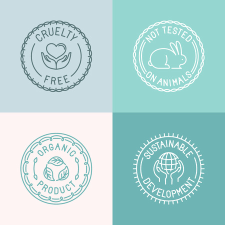 skin care products: Vector set of badges and emblems in trendy linear style for organic and natural cosmetic packaging - cruelty free, not tested on animals, organic product, sustainable developments