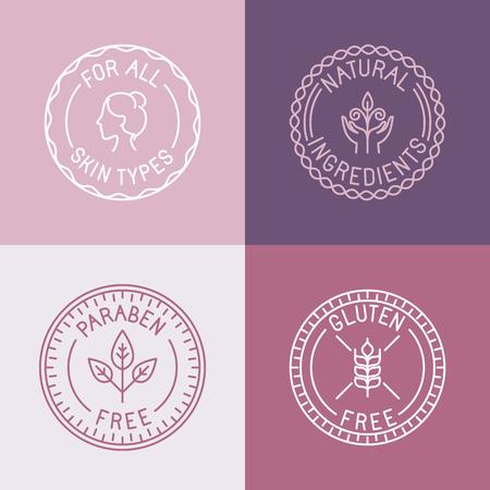 Vector conjunto de escudos y emblemas en el estilo lineal de moda para los envases de cosméticos orgánicos y naturales - para todo tipo de piel, ingredientes naturales, sin parabenos, sin gluten