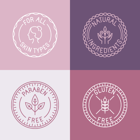 cosmetic cream: Vector set of badges and emblems in trendy linear style for organic and natural cosmetic packaging - for all skin types, natural ingredients, paraben free, gluten free