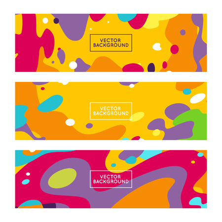 horizontal: Vector decorative abstract backgrounds in trendy flat style with copy space for your text and artistic blots and stains - set of horizontal banners and backdrops Illustration