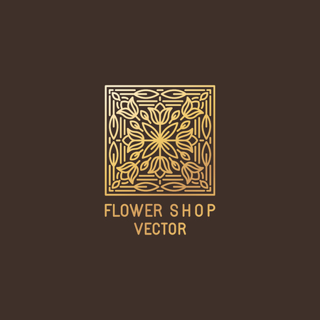 ornamental plant: Vector abstract logo design template in trendy mono line style - emblem for organic cosmetics, florist studios, flower shops - made in gloden foil on dark background