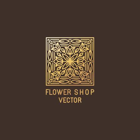 cosmeticos: Vector plantilla de diseño del logotipo resumen en estilo de línea mono de moda - emblema de cosméticos orgánicos, estudios floristería, tiendas de flores - hecha en papel de gloden sobre fondo oscuro Vectores