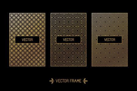 stile: Vector set di elementi di design, etichette e telai per imballaggi per prodotti di lusso in moda stile lineare - semplice e sfondo luminoso realizzati con foglia d'oro su sfondo nero Vettoriali