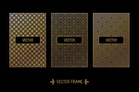 Vector set of design elements, labels and frames for packaging for luxury products in trendy linear style - simple and bright background made with golden foil on black background Çizim