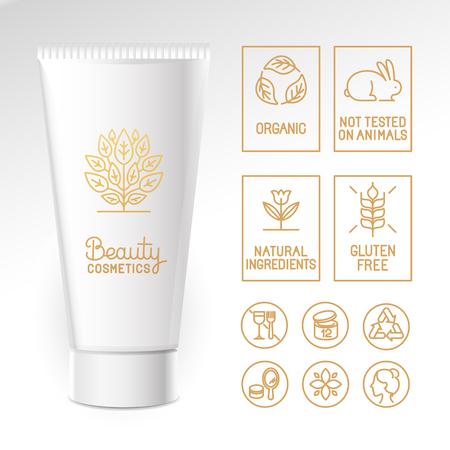 cosmeticos: Vector de dise�o kit - conjunto de elementos de dise�o, logotipo de la plantilla de dise�o, iconos e insignias para los cosm�ticos naturales y org�nicos en el estilo lineal de moda - el envasado de plantilla con etiquetas