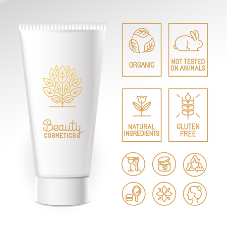 cosmetics: Vector design kit - set of design elements, logo design template, icons and badges for natural and organic cosmetics in trendy linear style - packaging template with labels