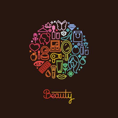 skönhet: Vektor logotyp mall gjord med ikoner i trendig linjär stil - abstrakt begrepp för kvinnlig hemsida, forum, butik - kosmetika tecken och illustrationer