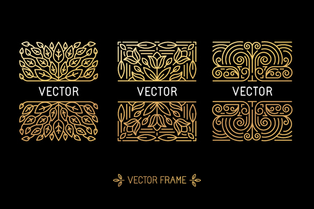 Vector set of linear frames and floral backgrounds with copy space for text - abstract labels for packaging and stationery in vintage hipster style Çizim