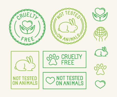 animais: Jogo do vetor de emblemas e selos da ecologia para embalagem - não testados em animais e crueldade livre - ícones no estilo linear na moda