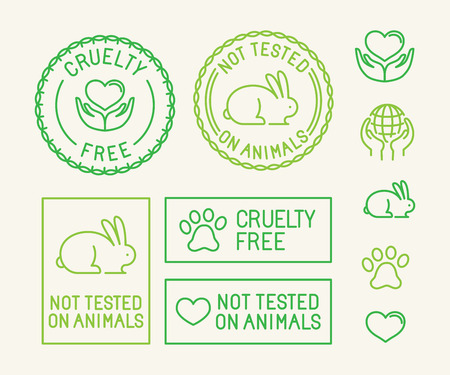 cosmetics: Vector set of ecology badges and stamps for packaging - not tested on animals and cruelty free - icons in trendy linear style