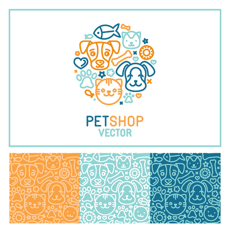 vet: Vector logo design template for pet shops, veterinary clinics and homeless animals shelters - circle made with mono line icons of cats and dogs - circle badge and seamless patterns for packaging