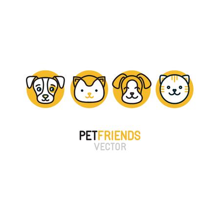 動物: ペット ショップ、動物病院、ウェブサイトや印刷物のホームレスの動物シェルターの猫と犬のモノラル ライン アイコン - バッジのベクトルのロゴ