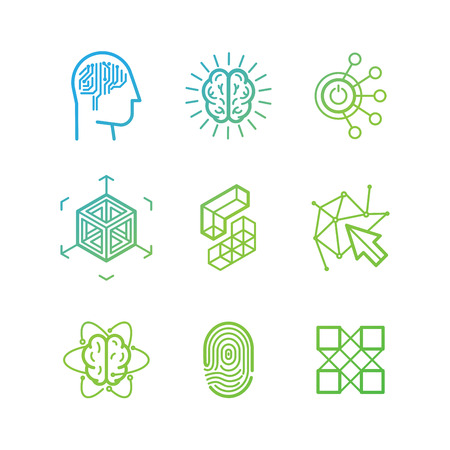 inteligencia: Vector logo plantillas de diseño y los iconos de estilo lineal de moda - la realidad virtual, la lluvia de ideas, proyección tridimensional, new media art - conceptos de tecnología abstracta Vectores