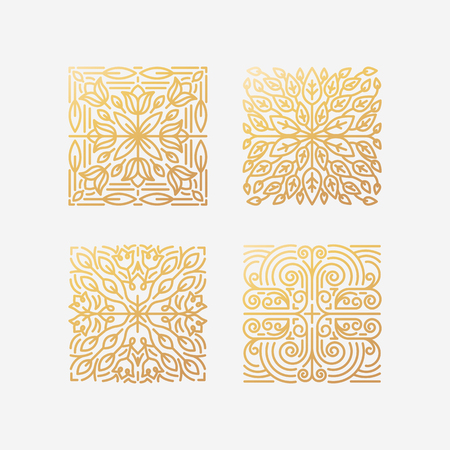 Vector set of abstract square emblems and badges in trendy linear style in golden colors - floral logo design templates and organic badges with leaves and flowers