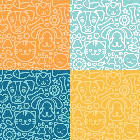 amor adolescente: Vector conjunto de patrones sin fisuras y fondos con trndy iconos lineales relacionados con las mascotas y los animales - fondos abstractos para los sitios web de tiendas de animales y estampados