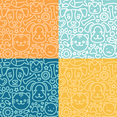 puppy dog: Vector set of seamless patterns and backgrounds with trndy linear icons related to pets and animals - abstract backgrounds for pet shop websites and prints