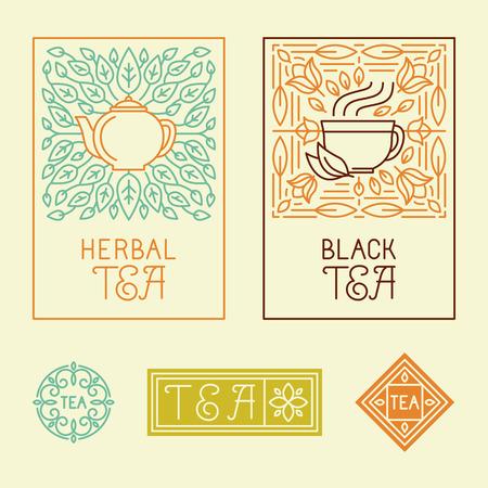 Vector thee verpakking labels en badges in trendy lineaire stijl - pictogrammen en badges - biologische kruiden en zwarte thee Stock Illustratie