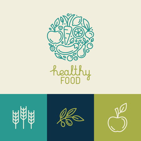 mat: Vektor logo mall med ikoner frukt och grönsaker i trendig linjär stil - abstrakt emblem för ekologisk butik, hälsosam mat butik eller vegetariskt cafe