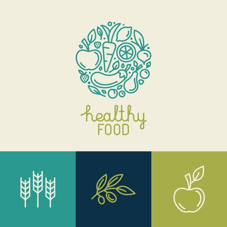 żywności: Wektor logo szablon z ikonami owocowych i warzywnych w modnym stylu liniowego - streszczenie godło organicznego sklep, sklep zdrowej żywności wegetariańskiej lub kawiarni Ilustracja