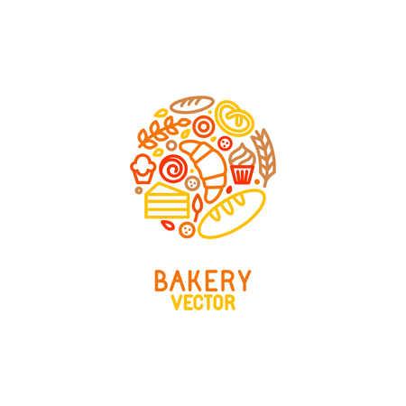 pastries: Vector logo design element with icons in trendy linear icons - abstract emblem for bakery, coffee shop, confectionery or sweet-shop - fresh and tasty food