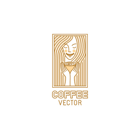 Vector logo design template in trendy linear style for coffee shop or cafe - nice and smiling woman holding hot cup of tea - mono line illustration