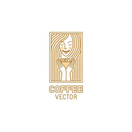 Vector ontwerp sjabloon in trendy lineaire stijl voor koffie winkel of café - mooi en lachende vrouw met warme kop thee - mono lijn illustratie