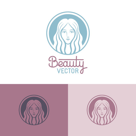 hair beauty: Vector logo design template in trendy linear style with female face - abstract beauty symbol for hair salon or organic cosmetics Illustration