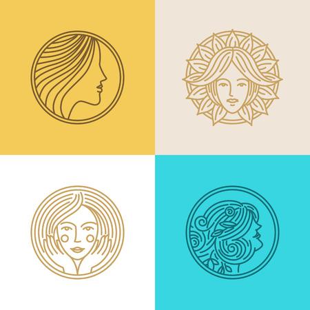 güzellik: logo tasarım şablonları ve soyut kavramların vektör seti - kuaför veya organik kozmetik güzellik sembolleri - kadın yüzleri ve trendy doğrusal bir tarzda daire rozetleri üzerine portreler