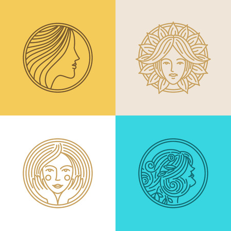 cosmetics: Vector set of logo design templates and abstract concepts - woman faces and portraits on circle badges in trendy linear style - beauty symbols for hair salon or organic cosmetics