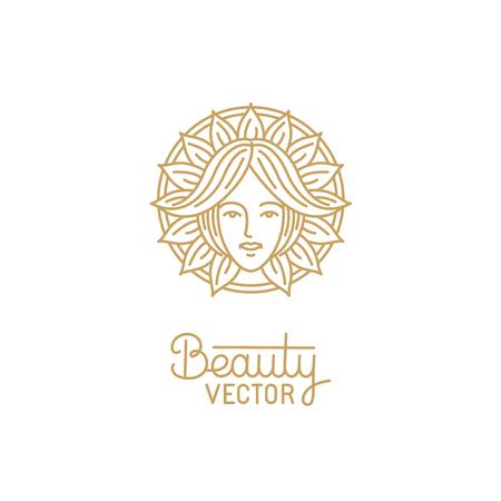 女性の顔 - ヘアサロンまたはオーガニック化粧品の抽象的な美しさのシンボルとトレンディな直線的なスタイルのベクトルのロゴのデザイン テンプ