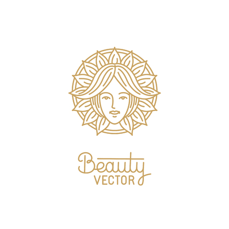 health beauty: Vector logo design template in trendy linear style with female face - abstract beauty symbol for hair salon or organic cosmetics Illustration