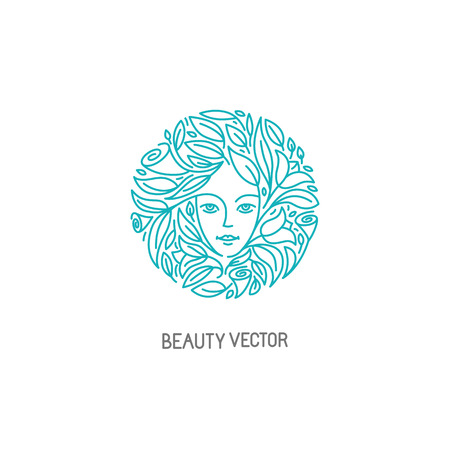 Logo Vector modèle de conception dans le style linéaire branché avec visage de femme - symbole de la beauté abstraite pour salon de coiffure ou cosmétiques bio