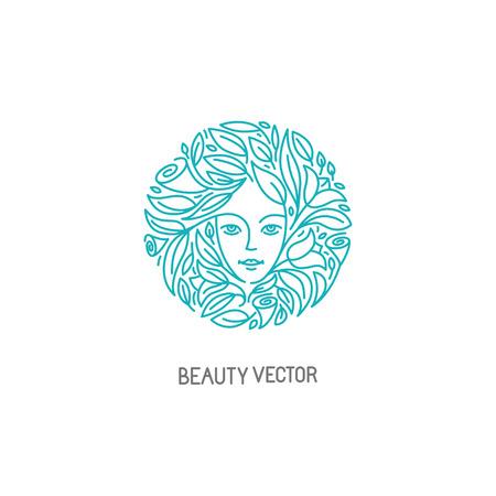 lineal: Logo vector plantilla de diseño en estilo lineal de moda con rostro de mujer - resumen belleza símbolo de peluquería o cosméticos orgánicos