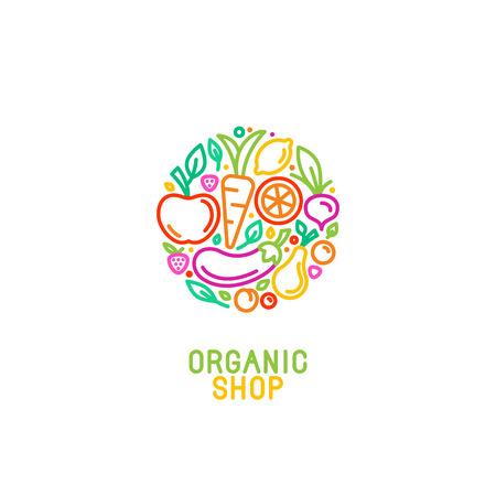 Wektor logo szablon z ikonami owocowych i warzywnych w modnym stylu liniowego - streszczenie godło organicznego sklep, sklep zdrowej żywności wegetariańskiej lub kawiarni
