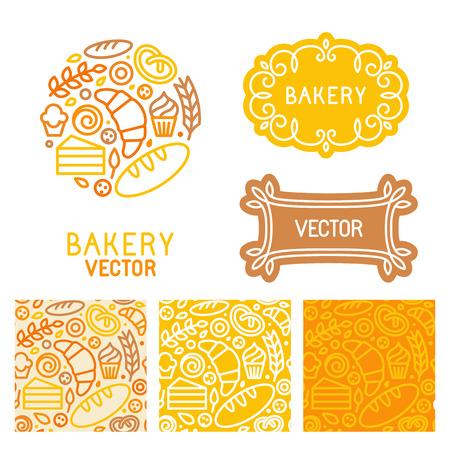 pasteles: Vector conjunto de elementos de diseño de logotipo con iconos en iconos lineales de moda y patrones sin fisuras - emblema abstracto para panadería, cafetería, pastelería o dulce-shop - comida fresca y sabrosa