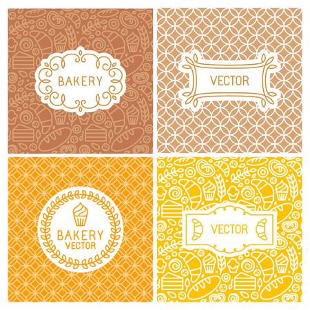 프레임 및 레이블 원활한 배경의 벡터 설정 - 빵집 개념과 메뉴 outlne 아이콘 유행 선형 스타일로 커버