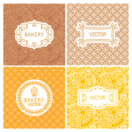 sweet shop: Vector set of seamless backgrounds with frames and labels - bakery concepts and menu covers in trendy linear style with outlne icons Illustration
