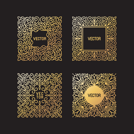 Vector set of linear frames and floral backgrounds with copy space for text - abstract labels for packaging and stationery in vintage hipster style - in golden style on black background Vettoriali