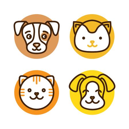 ペット ショップ、動物病院、ウェブサイトや印刷物のホームレスの動物シェルターの猫と犬のモノラル ライン アイコン - バッジのベクトルのロゴ