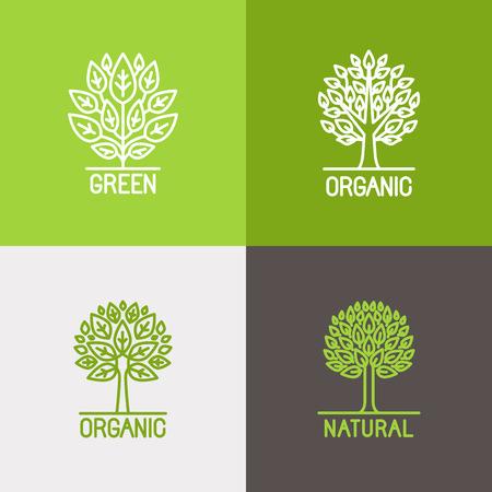 feuille arbre: Vector set d'icônes linéaires et des éléments de conception de logo de style branché de ligne mono - concepts de croissance, des emblèmes et signes d'affaires - l'arbre et des étiquettes de brousse Illustration