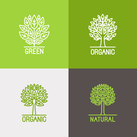 biology: Vector set of linear icons and logo design elements in trendy mono line style - growth concepts, business emblems and signs - tree and bush labels