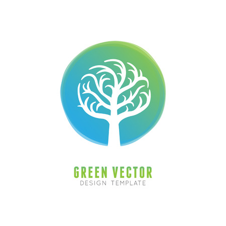 absract: Vector tree logo concept and design element in green gradient color - absract growth concept - business emblem