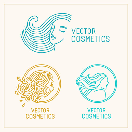beauty icon: Vector set of logo design templates and abstract concepts - woman faces and portraits on circle badges in trendy linear style - beauty symbols for hair salon or organic cosmetics